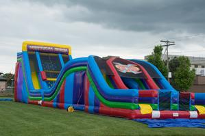 68' JUGGERNAUT® - 22' Vertical Rush and X Factor (Giant Obstacle Course and Slide) Rental