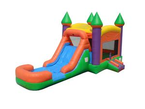 Orange Bounce House Wet/Dry Slide Combo